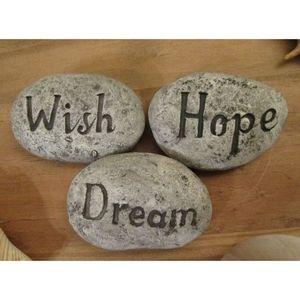 Dream Wish Hope Gray Pebble Stone Decor